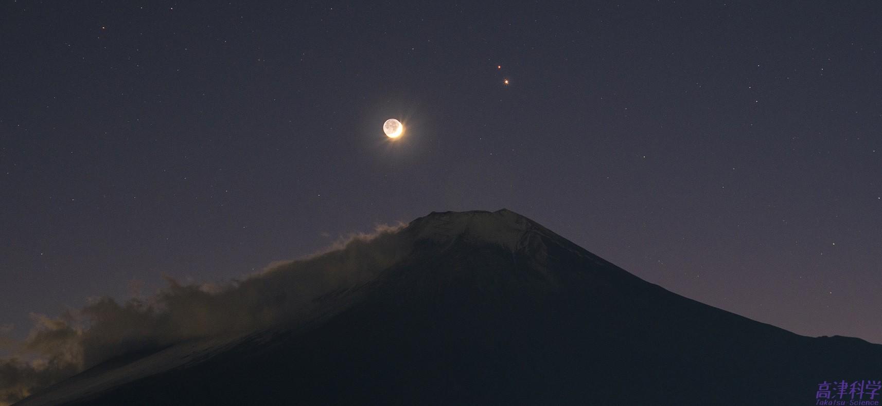 富士山と月,木星,土星